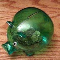 zielona przezroczysta śwnka-skarbonka